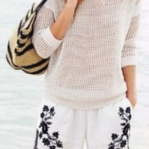 J..Crew. White Black Embroidered lined Shorts 2